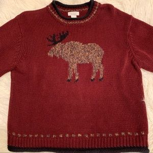 Christopher & Banks Moose Sweater Large